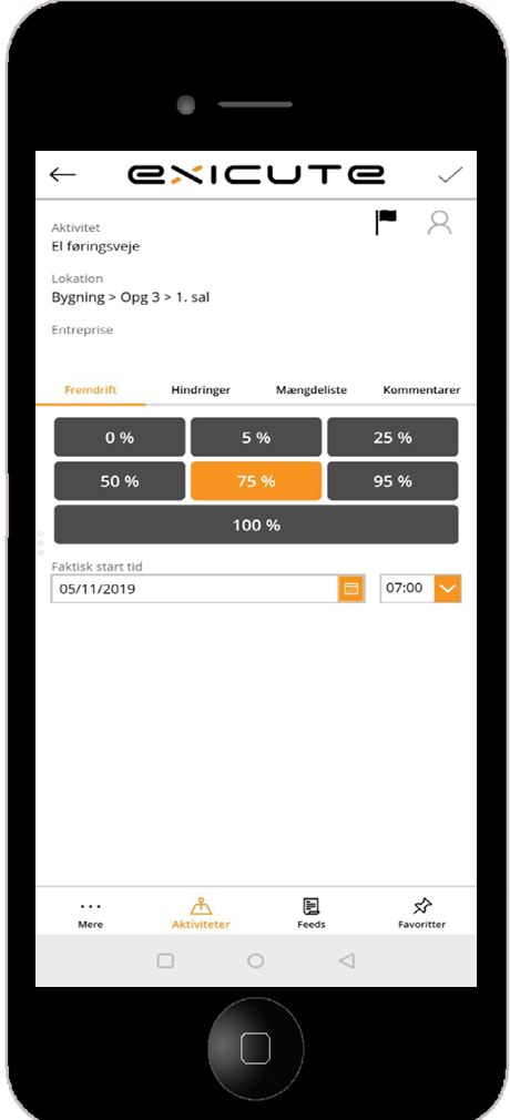 Exicute app helps you register progress on-site